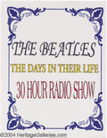 "Music Memorabilia:Recordings, Beatles - ""Days of Their Lives"" Radio Program (1981).... (30 items)"