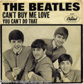 """Music Memorabilia:Recordings, Beatles """"Can't Buy Me Love/You Can't Do That"""" Picture Sleeve 45 Capitol 5150 Mono...."""