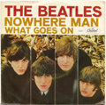 """Music Memorabilia:Recordings, Beatles """"Nowhere Man""""/""""What Goes On"""" Picture Sleeve 45 Capitol 5587Mono (1966)...."""
