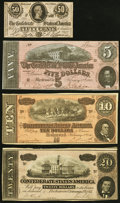Confederate Notes:1864 Issues, T67 $20 1864 Fine-Very Fine;. T68 $10 1864 About Uncirculated;. T69 $5 1864 About Uncirculated;. T72 50 Cents 1864... (Total: 4 notes)