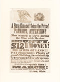 Military & Patriotic:Foreign Wars, Mexican War: Graphic Akron, Ohio Recruiting Broadside.. ...