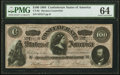 """Confederate Notes:1864 Issues, CT65/490 $100 1864 """"Havana"""" Counterfeit PMG Choice Uncirculated 64.. ..."""