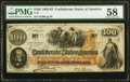 Confederate Notes:1862 Issues, John W. Nixon, Paymaster T41 $100 1862 PF-17 Cr. 318 PMG Choice About Unc 58.. ...
