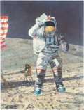 """Explorers:Space Exploration, Alan Bean Signed Limited Edition """"John Young Leaps Into History"""" Giclée Canvas, #15/100. ..."""