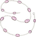 Estate Jewelry:Necklaces, Kunzite, Diamond, White Gold Necklace, Assil ...