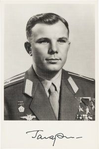 Yuri Gagarin Signed Photo in Military Uniform