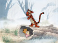 Animation Art:Production Cel, Winnie the Pooh and Tigger Too Pooh, Rabbit, Piglet, and Tigger Production Cel on Key Master Production Background (Wa...