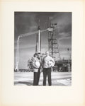 Explorers:Space Exploration, John Glenn and Bill Taub: Large Vintage Photo Posed in Front of Mercury Atlas Rocket. ...