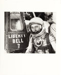 Explorers:Space Exploration, Mercury-Redstone 4 (Liberty Bell 7): Large Vintage Silver Gelatin Photo of Gus Grissom in His Silver Spacesuit ...