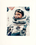 Explorers:Space Exploration, Gemini 6A: Large Vintage Chromogenic Color Photo of Wally Schirra in Full Spacesuit and Helmet, Ready for Liftoff. .....