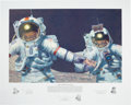 """Explorers:Space Exploration, Alan Bean Signed Limited Edition """"Right Stuff Field Geologists"""" Print, #374/550, also Signed by Gene Cernan and Harrison Schm..."""