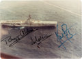 Explorers:Space Exploration, Apollo 11 Crew-Signed Small Color Photo of the Splashdown Rescue Ship Hornet. ...