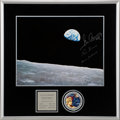 """Explorers:Space Exploration, Apollo 17 Crew-Signed Large """"The Last Earthrise"""" Color Photo in Framed Display, with Novaspace Receipts. ..."""