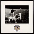 Explorers:Space Exploration, Charles Conrad Signed Large Apollo 12 Lunar Surface Photo in Framed Display with Embroidered Mission Insignia Patch, with Nov...