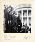 Explorers:Space Exploration, Apollo 11 Crew and President Nixon: Large Photo Signed on Presentation Mat. ...