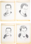 Explorers:Space Exploration, Apollo 13 Movie Original Pencil Portraits of Kevin Bacon, Tom Hanks, Bill Paxton, and Gary Sinise. ...