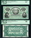Argentina Banco Nacional 15 Pesos Fuertes 1.8.1873 Pick S654p Face and Back Proofs PCGS Choice About New 58; Choice New...