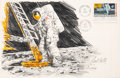 "Explorers:Space Exploration, Apollo 11: Paul Calle Original Signed Pencil Drawing of Neil Armstrong Standing on the Moon on a Large ""First Man On The Moon..."