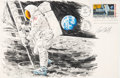 """Explorers:Space Exploration, Apollo 11: Paul Calle Original Signed Color Pencil Drawing of Neil Armstrong's First Step on a Large """"First Man On The Moon"""" F..."""