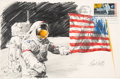 "Explorers:Space Exploration, Apollo 17: Paul Calle Original Signed Color Pencil Drawing of Gene Cernan and the American Flag on a Large ""First Man On The M..."
