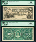 Argentina Banco de la Nacion Argentina 20 Pesos 1.1.1895 Pick 222p Face and Back Proofs PCGS Very Choice New 64 (2)...
