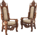 Furniture, A Pair of Italian Baroque-Style Tapestry-Upholstered Oak Throne Chairs, 20th century. 67 x 35 x 30 inches (170.2 x 88.9 x 76... (Total: 2 Items)