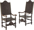 Furniture, A Pair of Spanish Colonial Walnut and Embossed Leather Arm Chairs, 19th century. 57-1/2 x 24-1/2 x 25 inches (146.1 x 62.2 x... (Total: 2 Items)