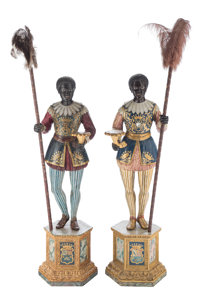 A Pair of Venetian Partial-Gilt and Polychrome Carved Wood Standing Blackamoor Figures, 19th century 83 x 15 x 15 inches...