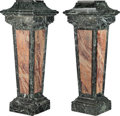 Furniture, A Pair of Baroque-Style Verde Antico and Fleur de Pêcher Marble Pedestals, 19th century . 48 x 17-3/4 x 17-3/4 inches (121.9... (Total: 2 Items)