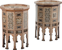 A Pair of Moorish Hardwood, Bone, and Mother of Pearl Inlay Side Tables, 20th century 32 x 23-3/4 inches (81.3 x 6