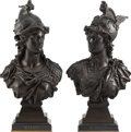 Sculpture, Auguste Louis Moreau (French, 1855-1919). Minerva and Achilles, early 20th century. Bronze . 19-1/4 x 10 x 7-1/2 inches ... (Total: 2 Items)