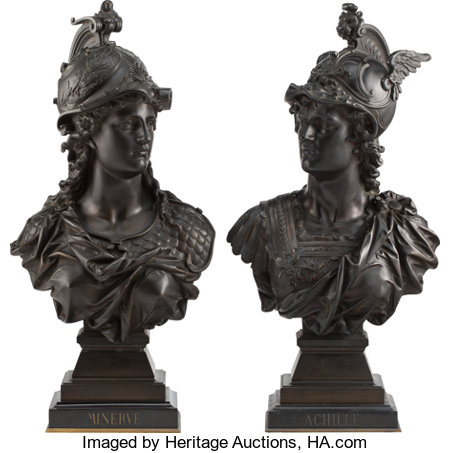 Auguste Louis Moreau (French, 1855-1919) Minerva and Achilles, early 20th century Bronze  19-1/4 x 10 x 7-1/2 inches ... (Total: 2 Items)