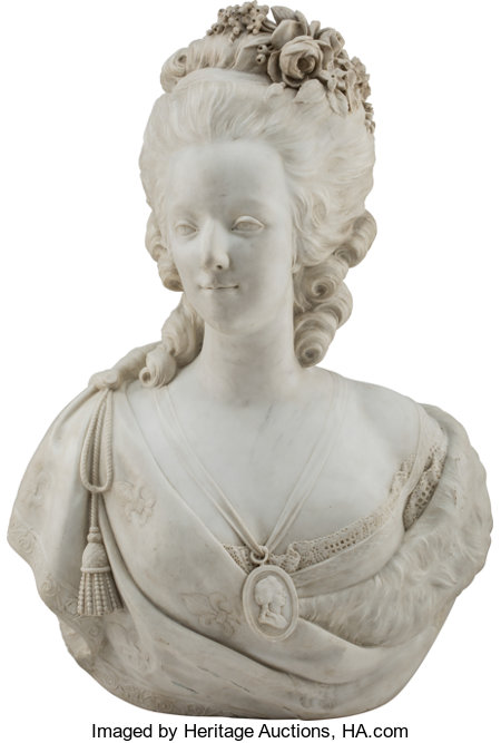 A Marble Bust of Marie Antoinette 27 x 19-1/2 x 12 inches (68.6 x 49.5 x 30.5 cm) ...