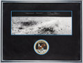 Explorers:Space Exploration, Buzz Aldrin Signed Apollo 11 Lunar Surface Panorama in Framed Display with Mission Insignia Patch, with Novaspace COA. ...