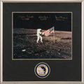 Explorers:Space Exploration, Apollo 12 Crew-Signed Large Lunar Surface Flag Color Photo in Framed Display, with Novaspace Certificate of Authenticity. ...