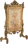 Furniture, A French Louis XV-Style Giltwood Fire Screen with Needlepoint Panel, late19th century. 49-1/2 x 39-1/4 inches (125.7 x 99.7 ...