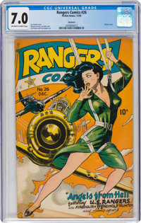 Rangers Comics #26 Rockford Pedigree (Fiction House, 1945) CGC FN/VF 7.0 Off-white to white pages