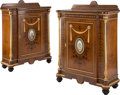 Furniture, A Pair of Napoleon III Gilt Bronze Mounted Burl Elm Cabinets Set with Porcelain Plaques, 19th century. 49-3/4 x 35-1/4 x 16 ... (Total: 2 Items)