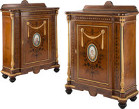 A Pair of Napoleon III Gilt Bronze Mounted Burl Elm Cabinets Set with Porcelain Plaques, 19th century 49-3/4 x 35-1/4 x...