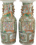 Ceramics & Porcelain, A Pair of Large Chinese Rose Medallion Porcelain Palace Vases, 19th century . 38 x 15 inches (96.5 x 38.1 cm) (e... (Total: 2 Items)