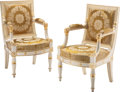 Furniture, A Pair of Empire Partial Gilt, Painted Wood Upholstered Fauteuils, circa 1810. 35-3/4 x 22-1/2 x 20 inches (90.8 x 57.2 x 50... (Total: 2 Items)