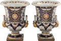 Ceramics & Porcelain, A Monumental Pair of Derby-Style Partial Gilt and Blue-Ground Porcelain Urns, 20th century. Marks: (pseudo Derby mark). 26 x... (Total: 2 Items)