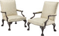 Furniture, A Pair of George III-Style Ebonized Carved Mahogany and Upholstered Armchairs, England, early 20th century . 40 x 30-1/2 x 3... (Total: 2 Items)