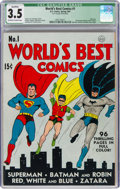 Golden Age (1938-1955):Superhero, World's Best Comics #1 (DC, 1941) CGC Qualified VG- 3.5 Off-white to white pages....