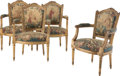 Furniture, Four Louis XVI-Style Carved Giltwood and Upholstered Armchairs, late 19th century . 36 x 24-1/2 x 20-1/2 inches (91.4 x 62.2... (Total: 4 Items)