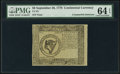 Colonial Notes:Continental Congress Issues, Continental Currency September 26, 1778 $8 Counterfeit Detector PMG Choice Uncirculated 64 EPQ.. ...