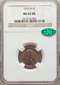 1915-D 1C MS65 Red and Brown NGC. CAC. NGC Census: (66/1). PCGS Population: (64/7). CDN: $575 Whsle. Bid for NGC/PCGS MS...
