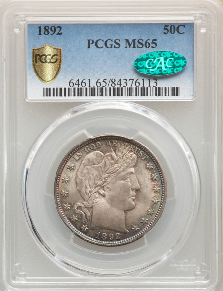 1892 50C, MS CAC PCGS Secure 65 PCGS