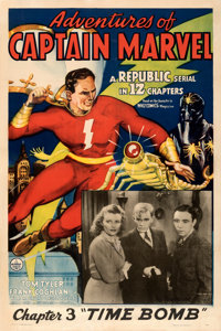 """Adventures of Captain Marvel (Republic, 1941). Fine+ on Linen. One Sheet (27"""" X 41""""). Chapter 3 -- """"Time..."""