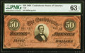 Confederate Notes:1864 Issues, Dark Red Tint Radar Serial Number T66 $50 1864 PMG Choice Uncirculated 63 EPQ.. ...